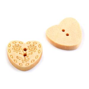 Guzik drewniany serce