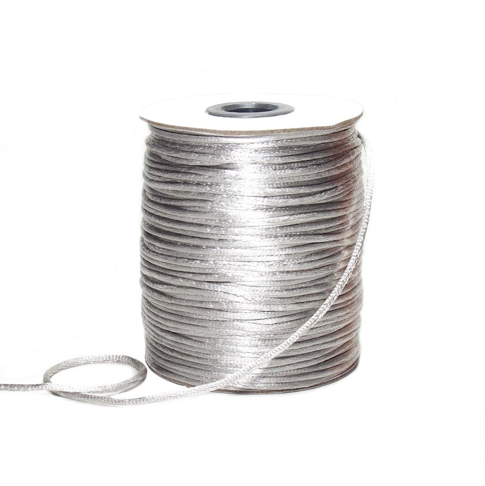 Sznurek satynowy srebrny