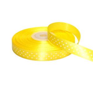 Tasiemka satynowa żółta w kropki