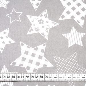 Tkanina bawełna gwiazdozbiór szary