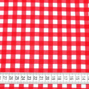 Tkanina bawełna kratka 11 mm czerwona