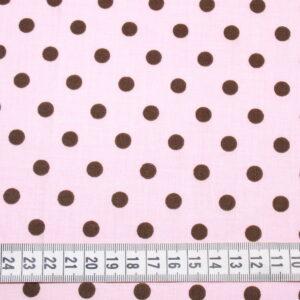 Tkanina bawełna kropki brąz na różu 7 mm