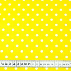 Tkanina bawełna kropki żółty 7 mm
