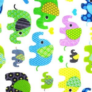 Tkanina bawełna słonie zielone