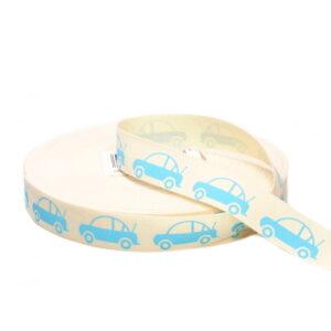 Tasiemka bawełniana samochodziki niebieskie