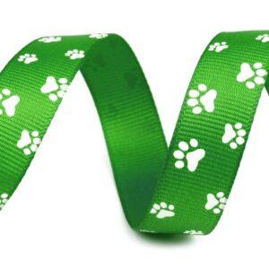 Tasiemka rypsowa psie łapki zielona