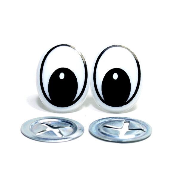 OCZY ELIPSA oczy do maskotek CZARNO-BIAŁA 20x15 mm