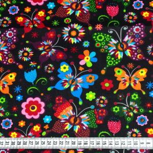 Tkanina bawełna motyle folk