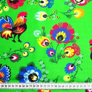 Tkanina bawełna łowicz kogutki na zielonym