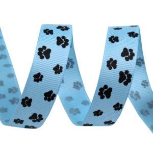 Tasiemka rypsowa psie łapki błękitna