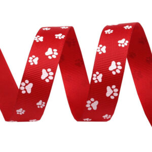 Tasiemka rypsowa psie łapki czerwona