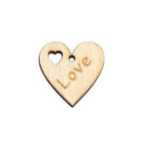 Przywieszka Love - drewniane serduszko