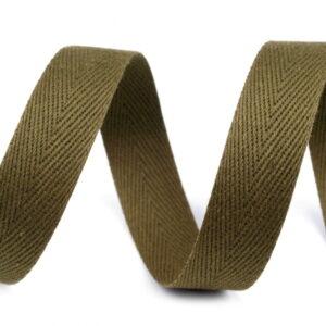 TAŚMA BAWEŁNIANA JODEŁKA 14 mm - OLIWKOWA