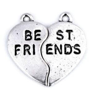 ZAWIESZKA METALOWA SERCE BEST FRIENDS