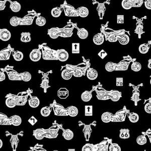 TKANINA BAWEŁNIANA - MOTOCYKLE NA CZARNYM